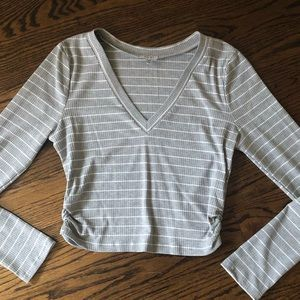 NEW Tobi Gray White Striped Long Sleeve Crop Top